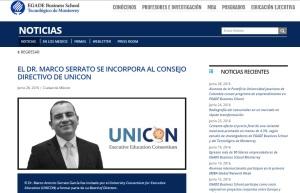 El Dr. Marco Serrato se incorpora al Consejo Directivo de UNICON_EGADE