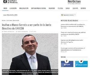 Invitan a Marco Serrato a ser parte de la Junta Directiva de UNICON_SNC