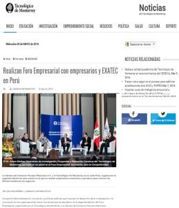 Realizan Foro Empresarial con Empresarios y EXATEC en Perú