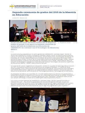 Segunda ceremonia de grados del 2015 de la Maestría en Educación_Bogotá_Uniminuto