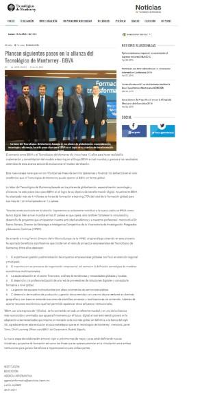 Planean siguientes pasos en la alianza del Tecnológico de Monterrey - BBVA