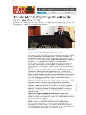 Tec de Monterrey imparte curso de análisis de datos_La Silla Rota